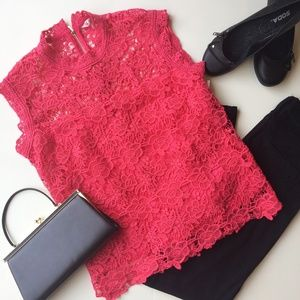 Nanette Lepore Sleeveless Lace Top Bright Pink NWT